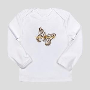 Cute Gold Butterfly Long Sleeve Infant T-Shirt