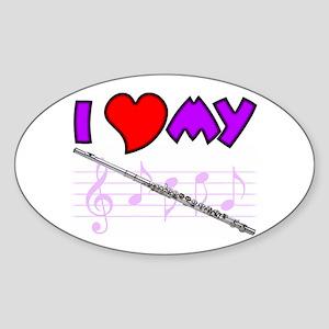 I Heart My Flute Oval Sticker