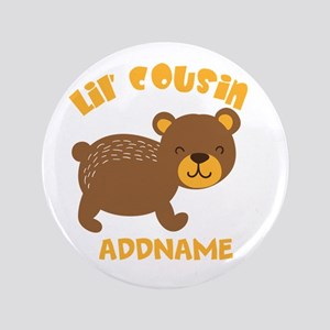 Personalized Name Little Cousin Button