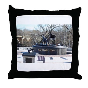 Ray Charles Plaza Throw Pillow