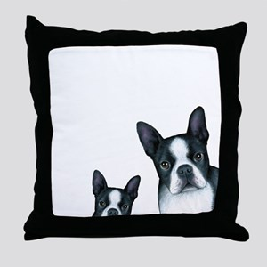 Dog 128 Boston Terrier Throw Pillow