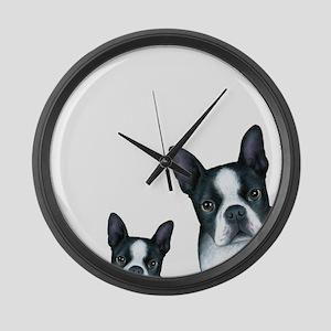 Dog 128 Boston Terrier Large Wall Clock