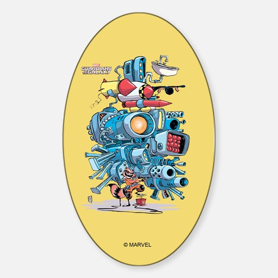 GOTG Rocket Drawing Sticker (Oval)