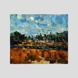Cezanne painting, Riverbanks Throw Blanket