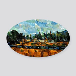 Cezanne painting, Riverbanks Oval Car Magnet