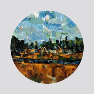 Cezanne painting, Riverbanks Round Ornament