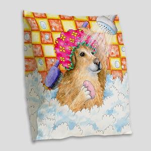 Dog 129 Funny Golden Retriever Burlap Throw Pillow