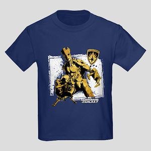 GOTG Rocket Groot Grunge Kids Dark T-Shirt