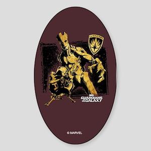 GOTG Rocket Groot Grunge Sticker (Oval)