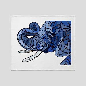 Blue Elephant Throw Blanket