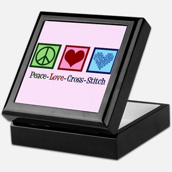 Peace Love Cross Stitch Keepsake Box