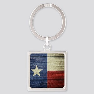 Texas Flag on Wood Square Keychain