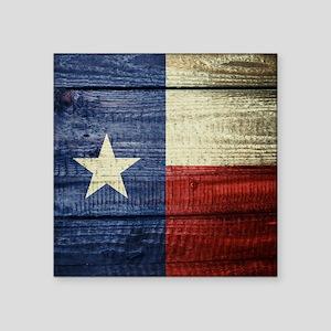 "Texas Flag on Wood Square Sticker 3"" x 3"""