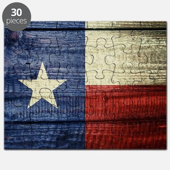 Texas Flag on Wood Puzzle
