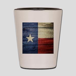 Texas Flag on Wood Shot Glass
