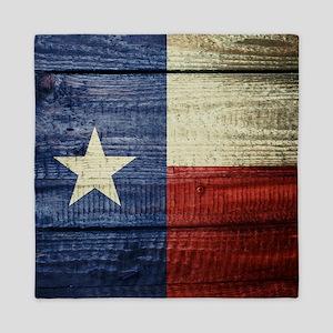 Texas Flag on Wood Queen Duvet