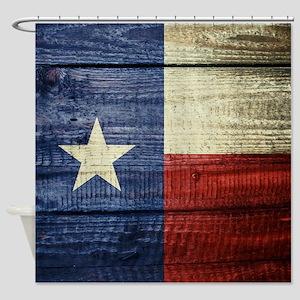 Texas Flag on Wood Shower Curtain