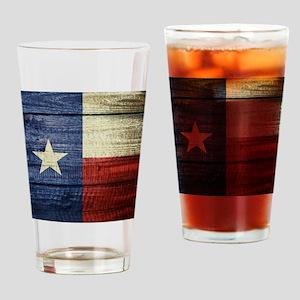 Texas Flag on Wood Drinking Glass