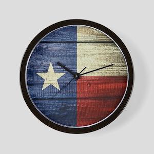 Texas Flag on Wood Wall Clock