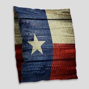 Texas Flag on Wood Burlap Throw Pillow