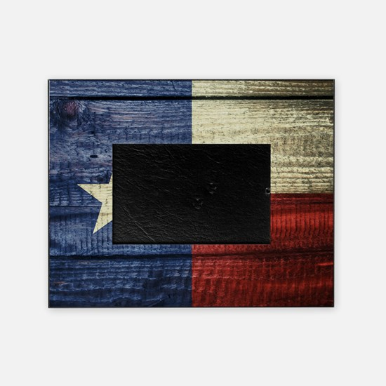 Texas Flag on Wood Picture Frame