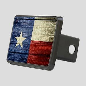 Texas Flag on Wood Rectangular Hitch Cover
