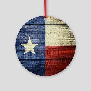Texas Flag on Wood Round Ornament