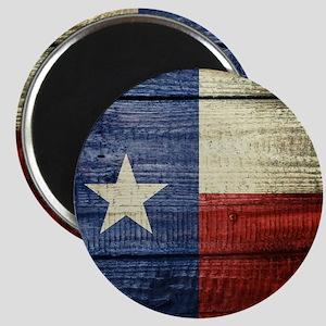 Texas Flag on Wood Magnet