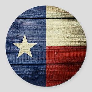 Texas Flag on Wood Round Car Magnet