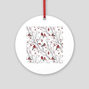 Winter Birds Marsala Red and Black Round Ornament