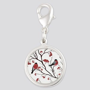 Winter Birds Marsala Red and Black on White Charms