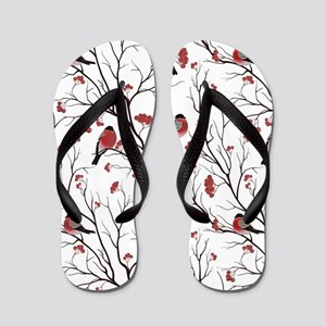 Winter Birds Marsala Red and Black on W Flip Flops