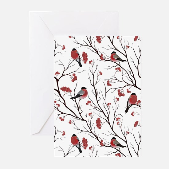 Winter Birds Marsala Red and Black Greeting Cards