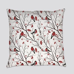 Winter Birds Marsala Red and Black Everyday Pillow