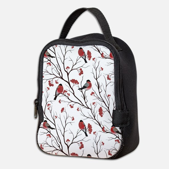 Winter Birds Marsala Red and Bl Neoprene Lunch Bag