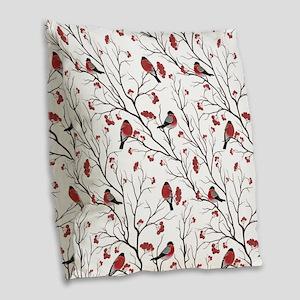 Winter Birds Marsala Red and B Burlap Throw Pillow