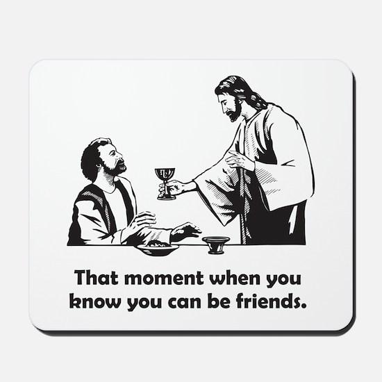 Jesus wine t-shirt Mousepad