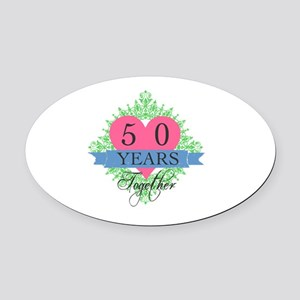 50th Wedding Anniversary Oval Car Magnet