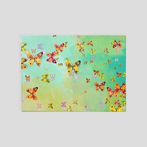 Butterflies on springtime 5'x7'Area Rug