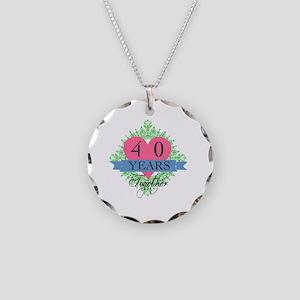 40th Wedding Anniversary Necklace Circle Charm