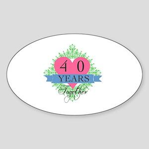 40th Wedding Anniversary Sticker (Oval)