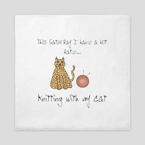 knitting cat 2 Queen Duvet
