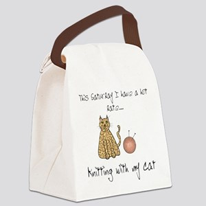 knitting cat 2 Canvas Lunch Bag