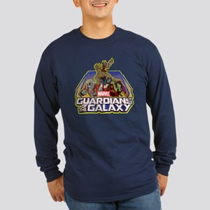 GOTG Team Retro Distresse Long Sleeve Dark T-Shirt