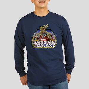 GOTG Team Retro Distresse Long Sleeve Dark T-Shirt