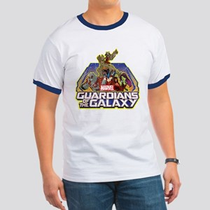 GOTG Team Retro Distressed Ringer T