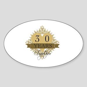 30th Wedding Anniversary Sticker (Oval)