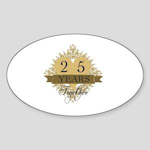 25th Wedding Anniversary Sticker (Oval)
