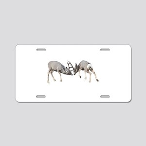 Mule deer bucks fighting Aluminum License Plate