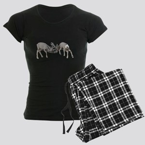 Mule deer bucks fighting Women's Dark Pajamas